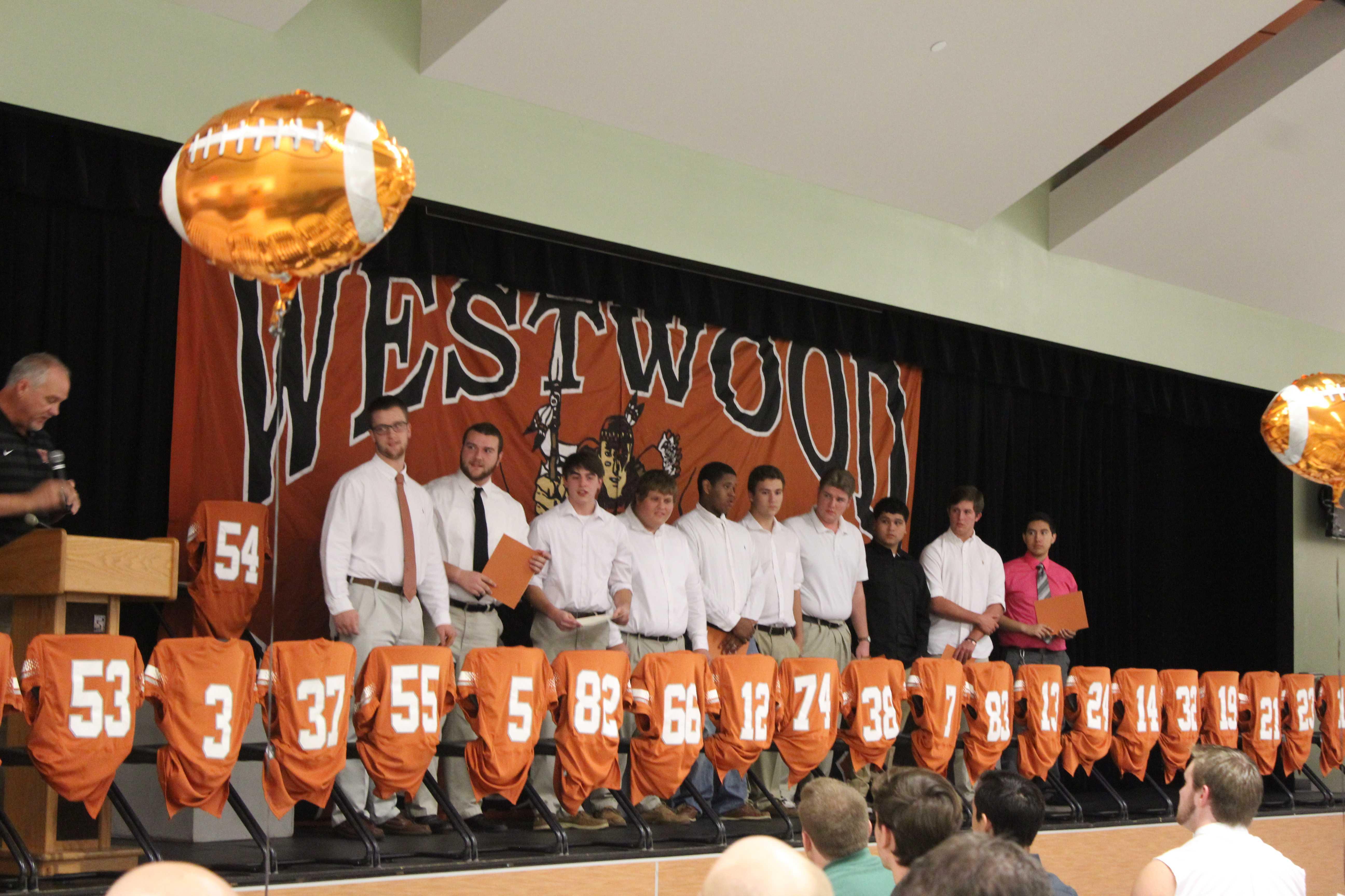 Westwood horizon football team celebrates season with for Athletic banquet decoration ideas