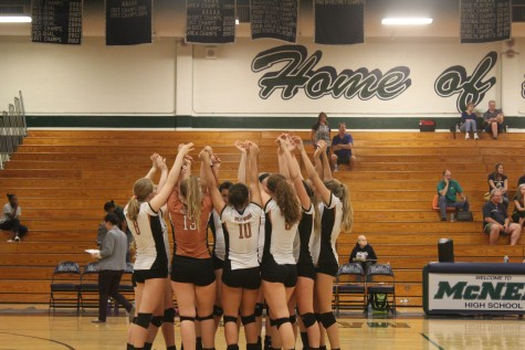 JV Volleyball Team Playing Well Together