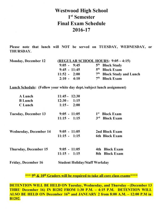 First Semester Final Exam Schedule