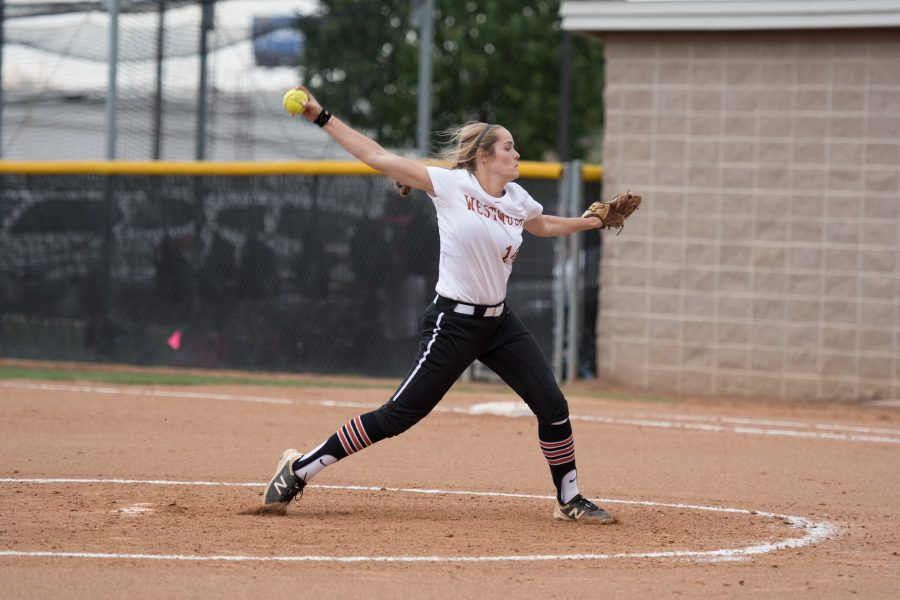 Haley Popelka '18 pitches the ball to opposing batter.  Photo credit to Erin Lee.