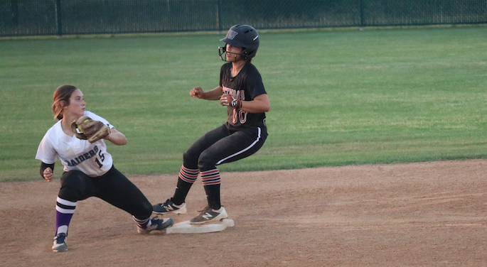 Gabby Garcia '19 makes it safe at second.