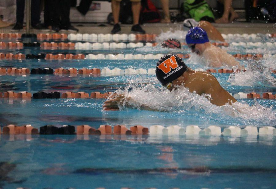 Matthew Lane '18 pulls through his 100 breaststroke.