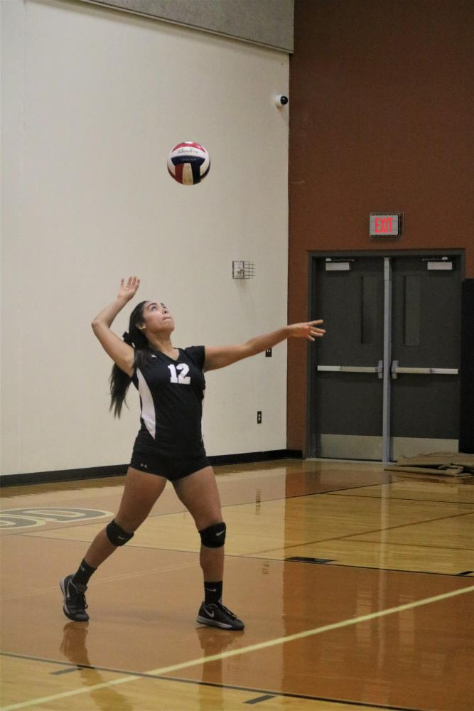 Grace+Neall+%2721+serves+the+ball+and+sends+it+over+the+net.+