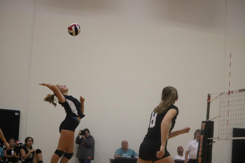 Lauren+Tyndall+%2721+spikes+the+ball+sending+it+over+the+net.+