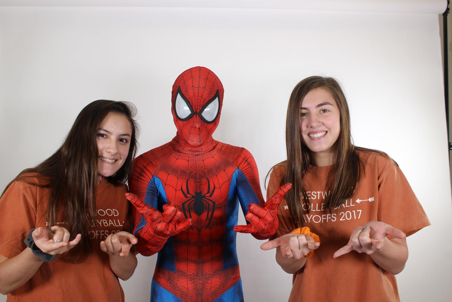 Celeste+Palomino+%2721+and+Lauren+Wood+%2721+pose+with+Spider-Man.