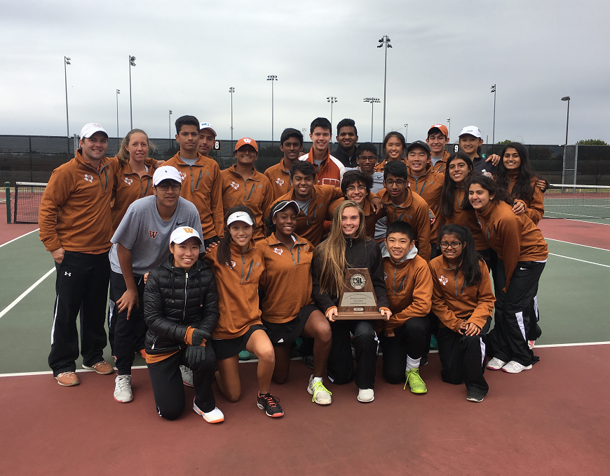 The team poses with their Region II-6A finalist plaque. Photo credit to Westwood Tennis.