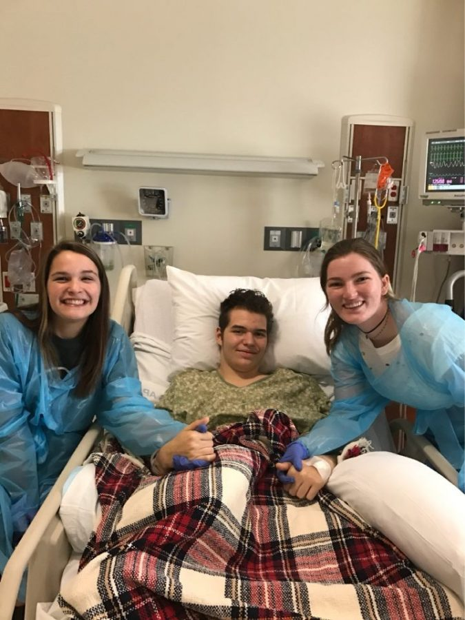 Molly Bayer '17 and Adra Kreiling '17 stop by to visit Matthew.