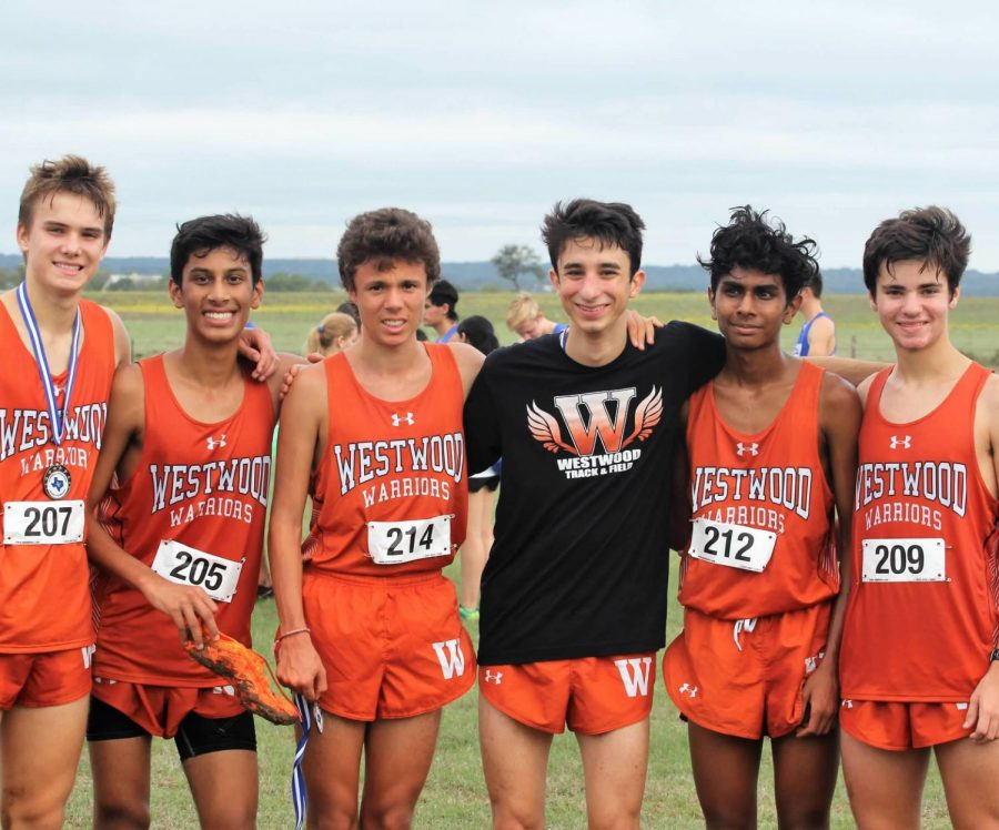 Zach Shrull '19, Neil Panwalker '21, Pablo Lomeli '21, Nima Ashtari '20, Aryan Patel '19, and Gavin Thomas '21 smile after completing their race. Photo courtesy of Hector Lomeli.