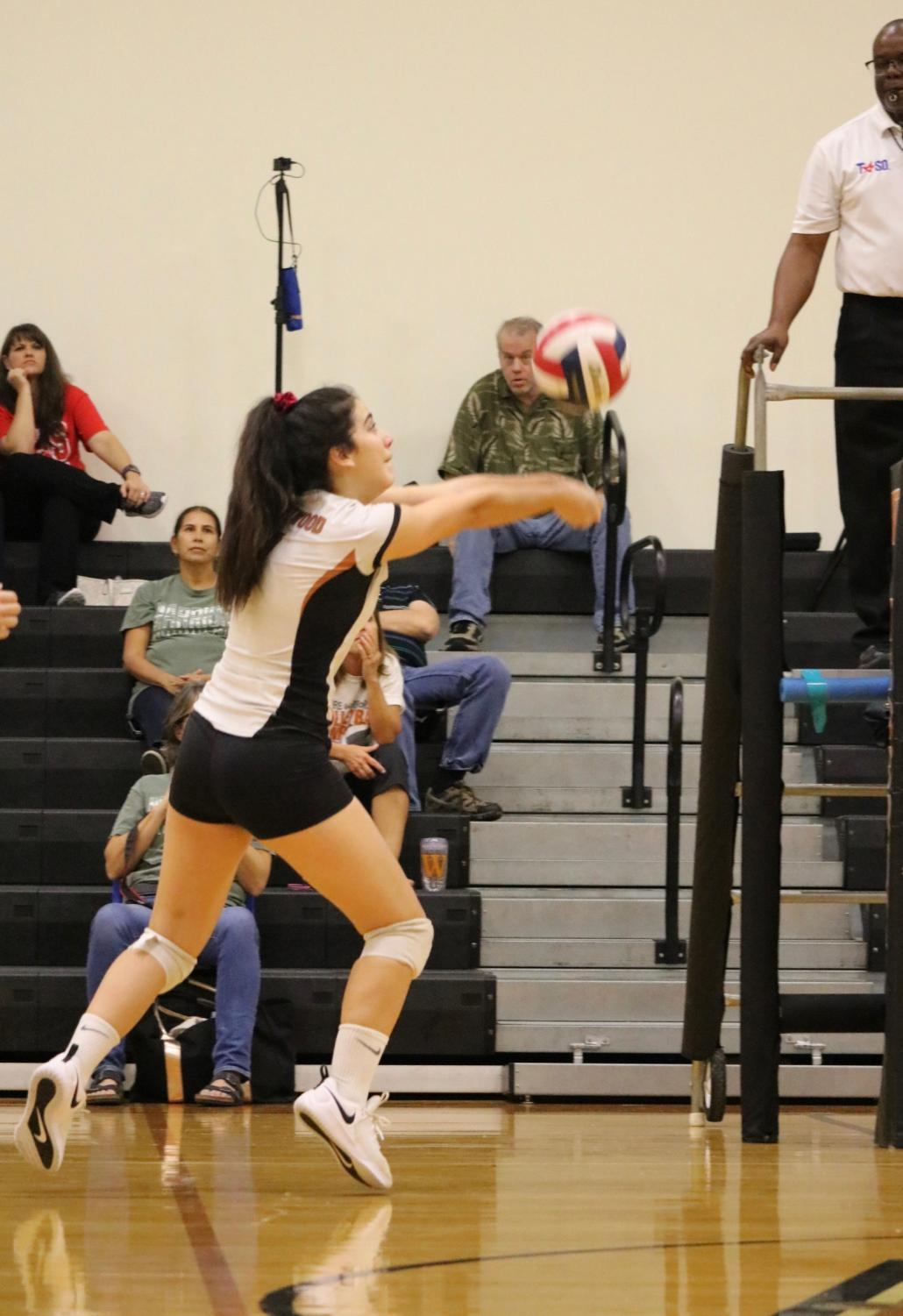 Isabel+Garcia+%2722+prevents+the+other+team+from+scoring+by+hitting+the+ball+back+over+the+net.