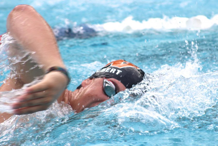 Cole Hebert '19 takes a breath in freestyle.