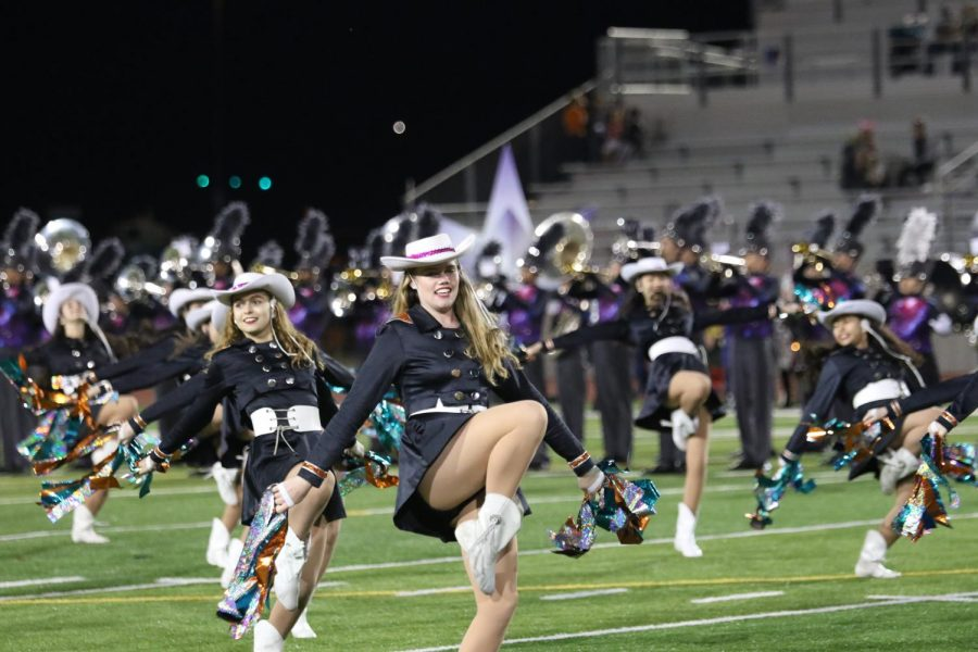 SunDancers get ready to kick while they perform their halftime routine. They are the varsity dance team,  and their show being scheduled on a Jewish holiday has caused some controversy.