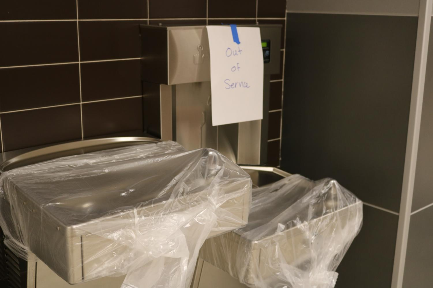 The water fountains remain covered so students do not drink potentially contaminated water.