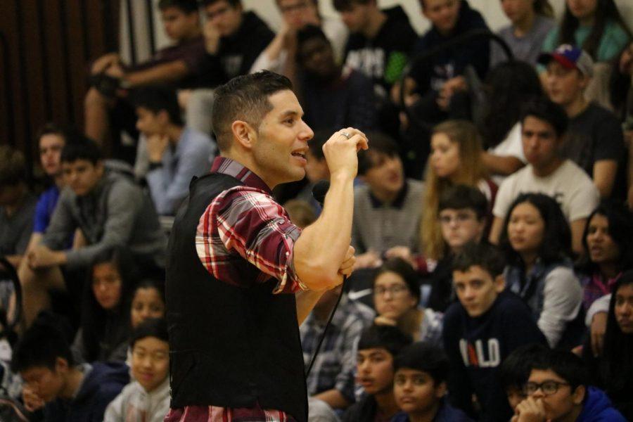 David Garcia encourages the freshmen to