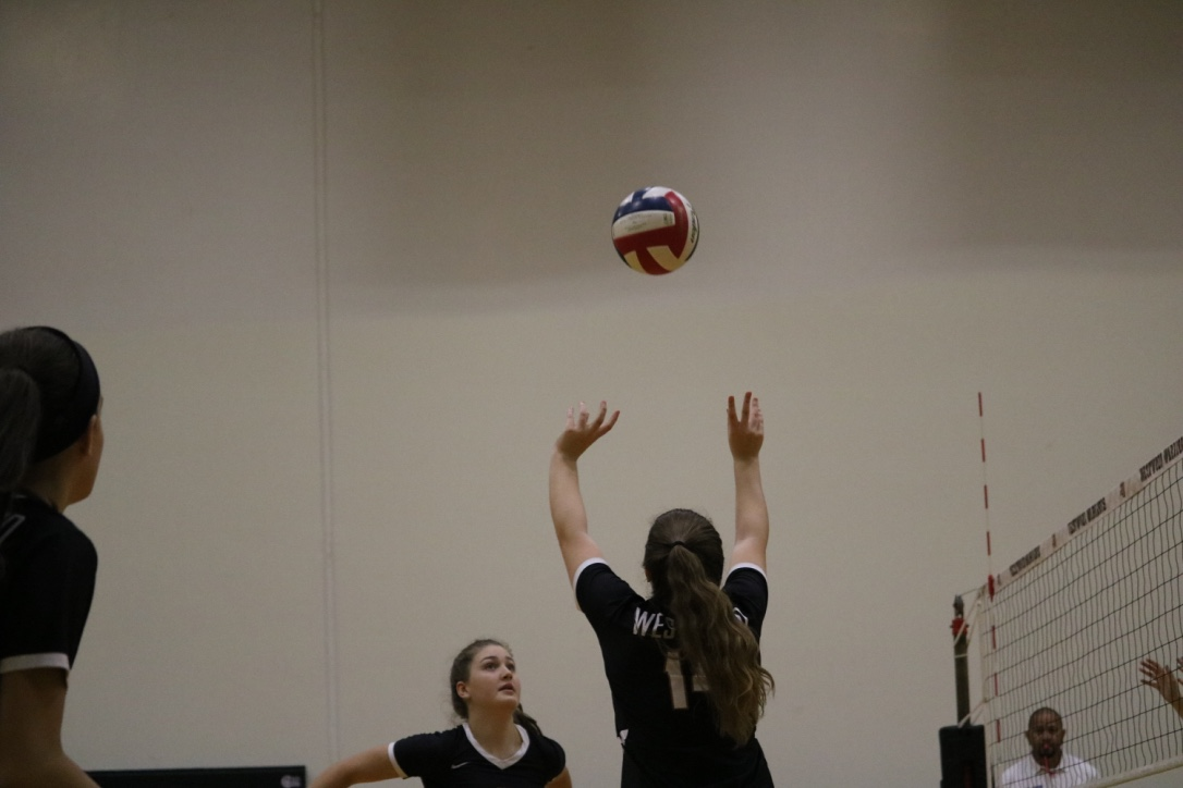 Lauren+Kelley+%2721+gets+ready+to+set+the+ball+to+allow+her+fellow+teammate+to+spike+it+over+the+net.+