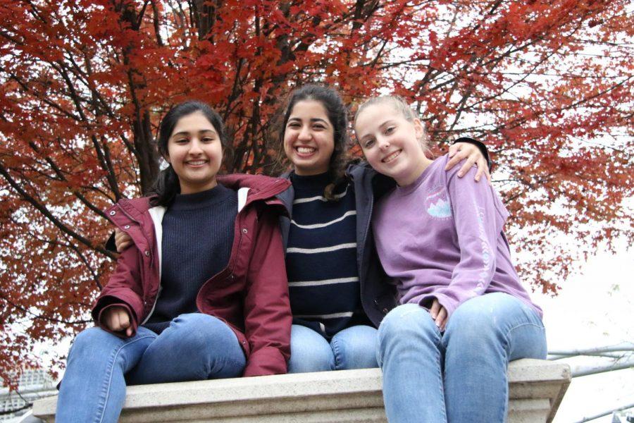 Freshmen Ruhee Nemawarkar, Keana Saberi, and Rosie Deal pose for a photo in Millennium Park.