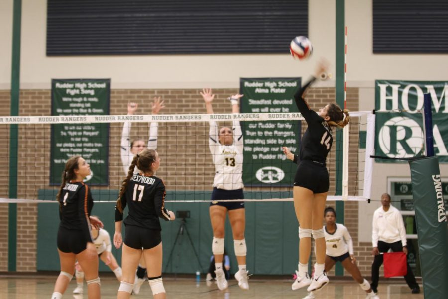 Zoe Menendez '20 jumps up and spikes the ball across the net.
