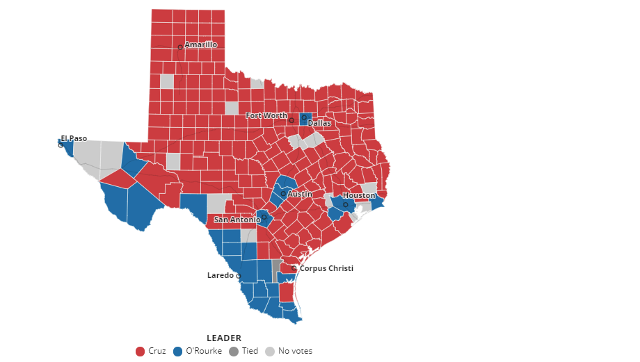 Map displaying election results by county in Texas as of 11:00 p.m. Nov. 6.