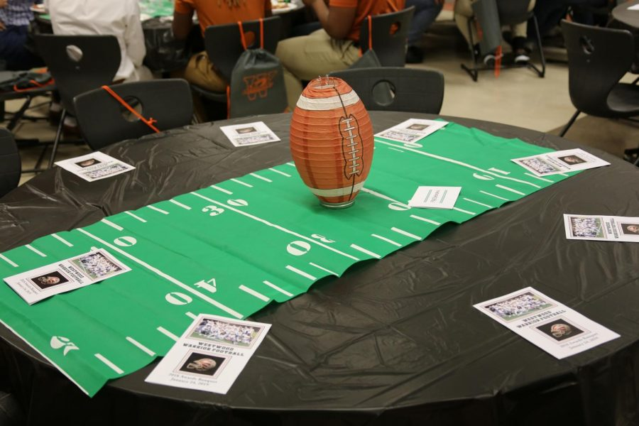 Certain decorated tables are reserved for football players.