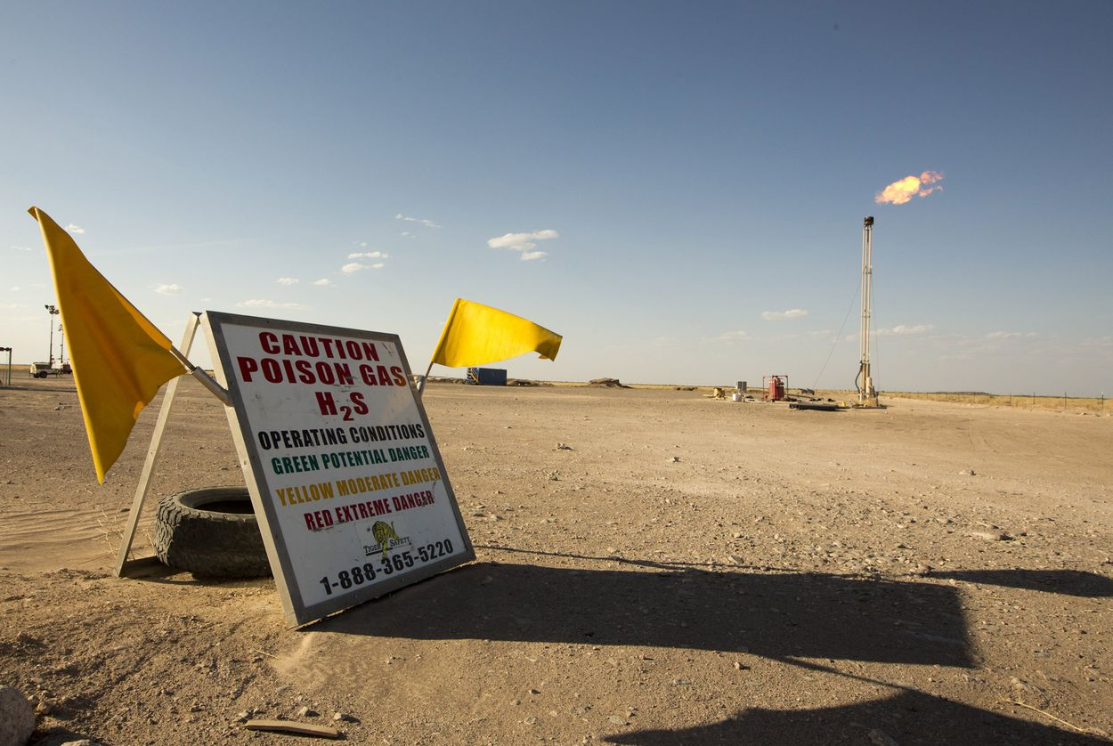 A natural gas flare in Pecos County, Texas. The state's natural gas plants, particularly those in West Texas, flare off tens of millions of pounds of toxic sulfur dioxide and hundreds of millions of pound of poisonous hydrogen sulfide every year.