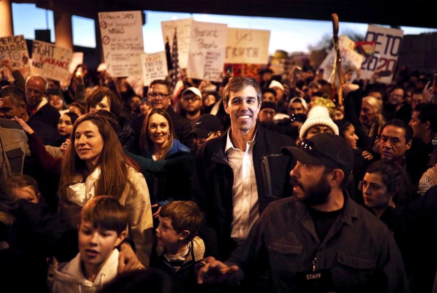 Potential+presidential+candidate+Beto+O%27Rourke+joined+a+march+Monday+in+response+to+President+Donald+Trump%27s+rally+in+El+Paso.