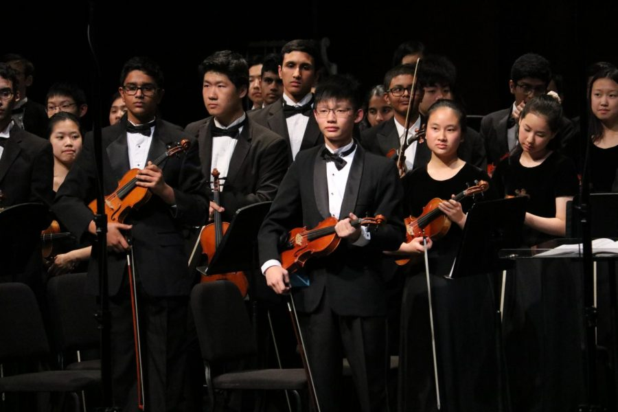 The Philharmonic Orchestra stands up for the audience to applause after performing their pieces.