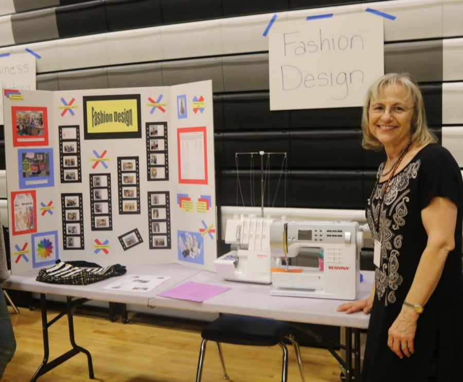 Fashion design teacher Ms. Judy Chance has props ready waiting for eighth grade students and teachers to arrive.