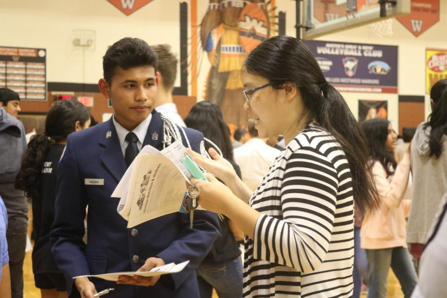 ROTC student answers a parents questions about the program.