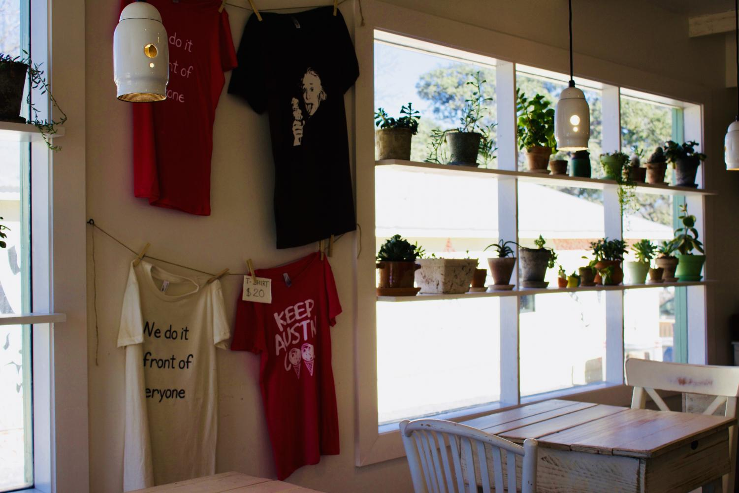 The+interior+of+Dolce+Neve+is+decorated+with+tiny+succulents+and+the+business%27+brand+merchandise.