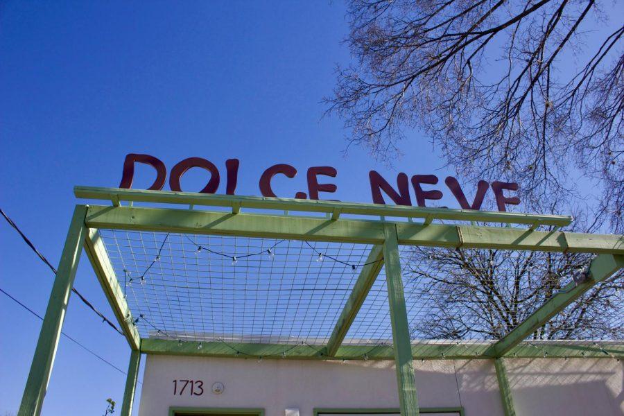 Dolce Neve's sign beckons customers inside.
