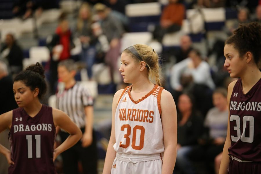 Meghan Booknis '20 watches her teammate shoot a free throw.