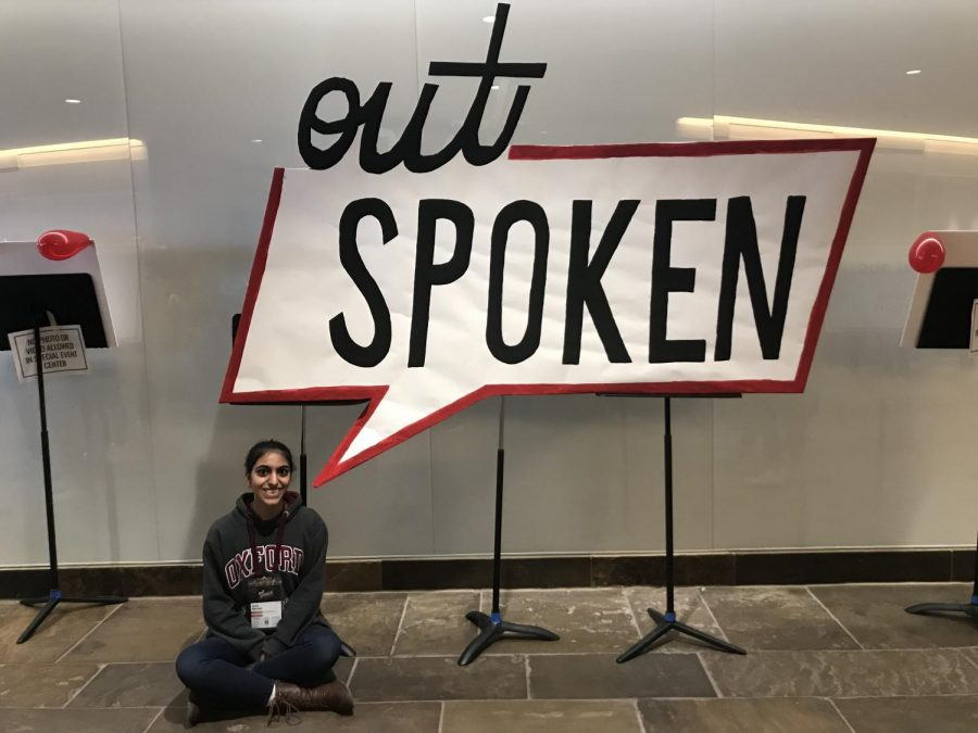 Anaita Merchant '20 takes a photo before the event begins.