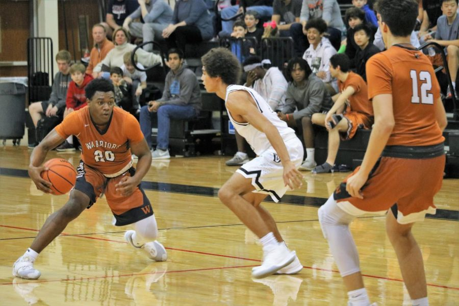 Brandon Parks 20 gets ready to put a move on his opponent.