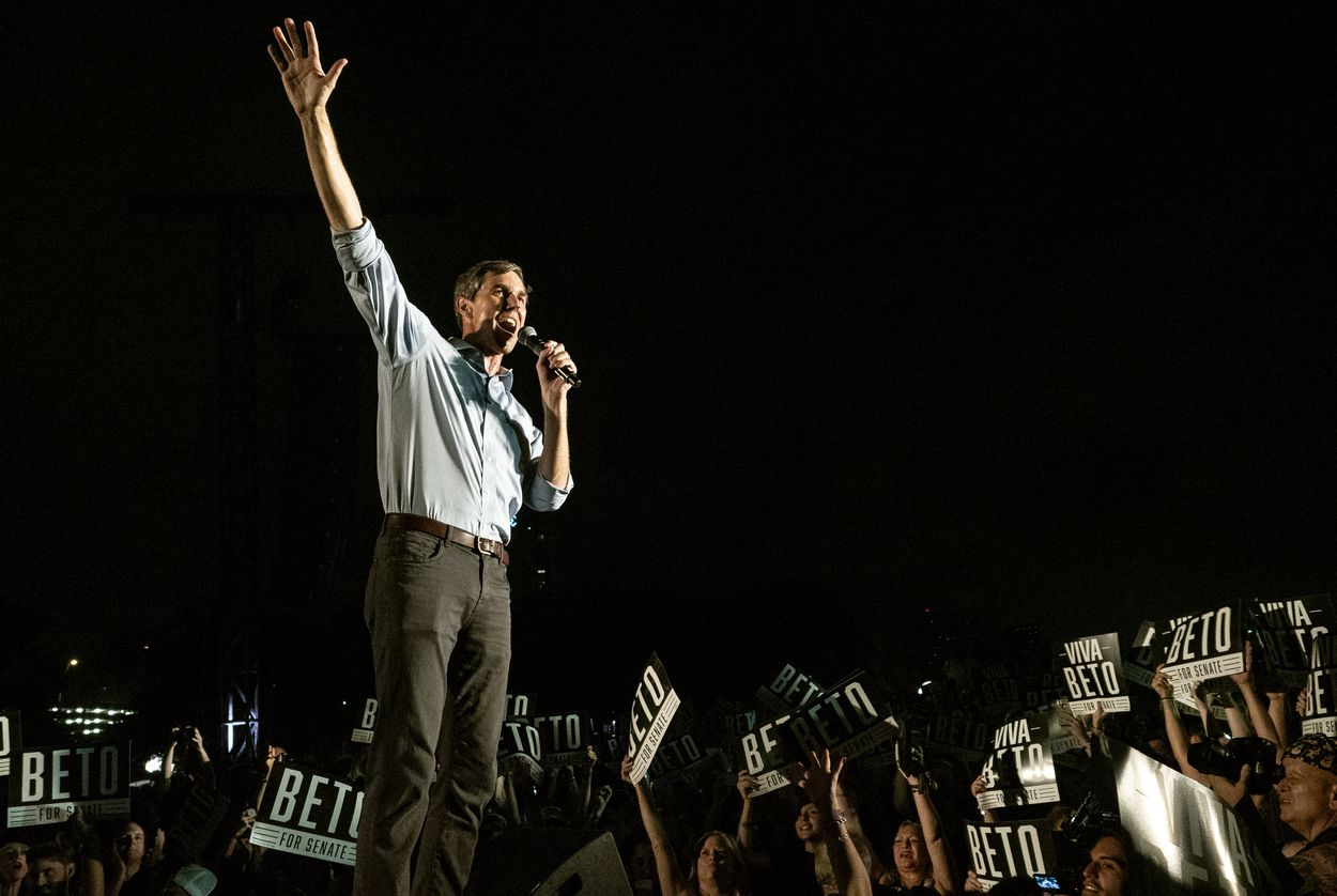 US Rep. Beto O'Rourke, D- El Paso, thanks the crowd of supporters as he leaves the stage during the Turn Out For Texas Rally with Willie & Beto held at Auditorium Shores in Austin, Texas, on Saturday, Sept. 28, 2018. U.S. Rep. Beto O'Rourke is running against Republican U.S. Sen. Ted Cruz, in a one of the top U.S. Senate races nationally this year.