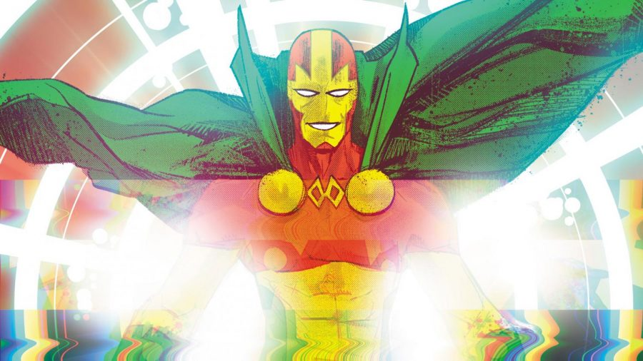 Mister+Miracle+gleefully+appears+before+his+audience.