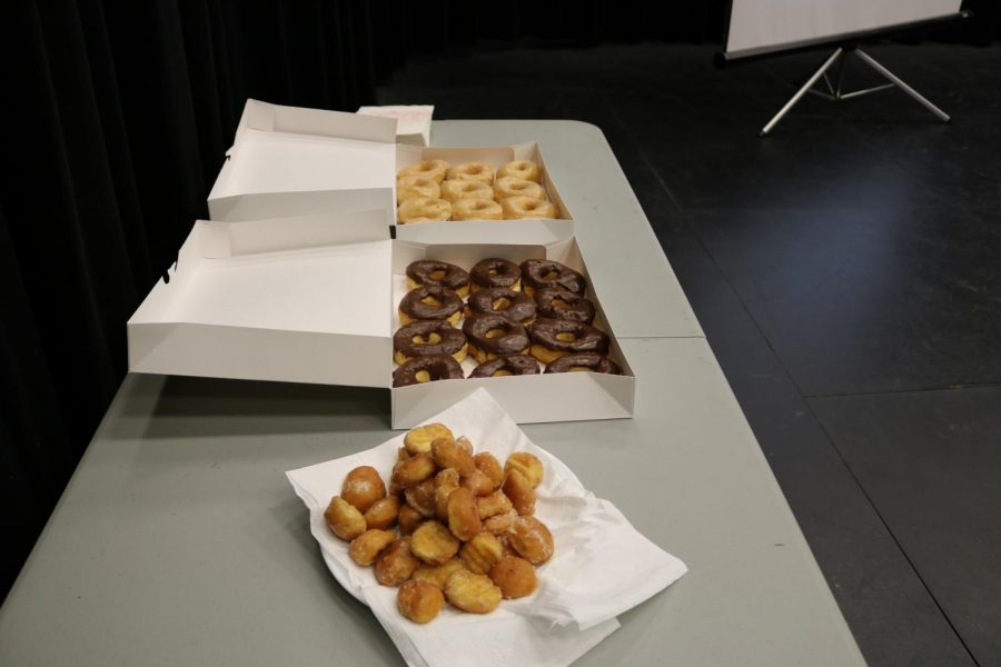Doughnuts were set out for students to eat at the end of the panel.