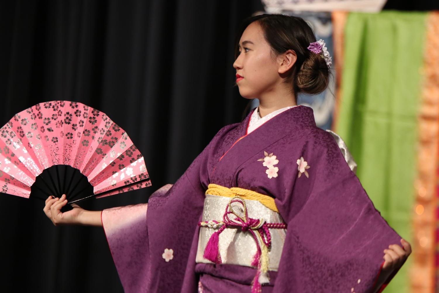 A+student+sports+her+kimono+in+the+fashion+show.