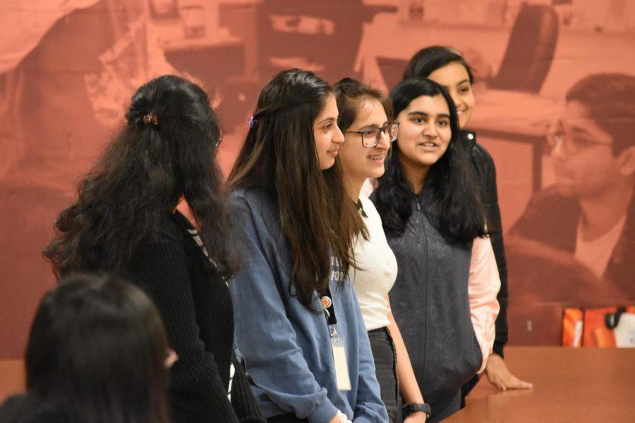 Sophomores Sakshi Dhavalikar, Anika Nagji, Uma Nair, organizers of the Leadership Workshop, introduce themselves.