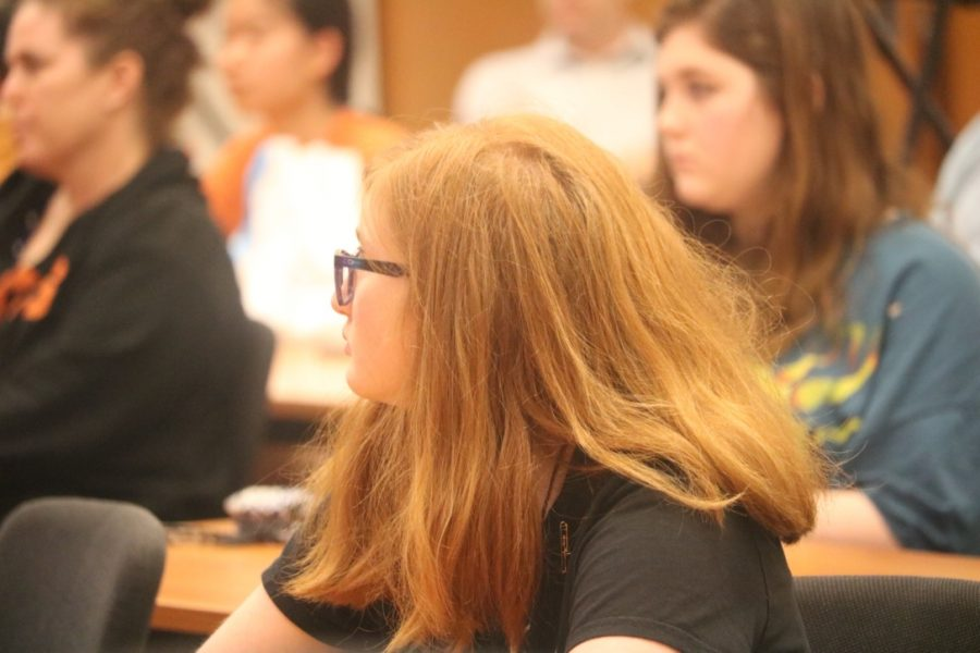A student watches a video on active shooter drills.