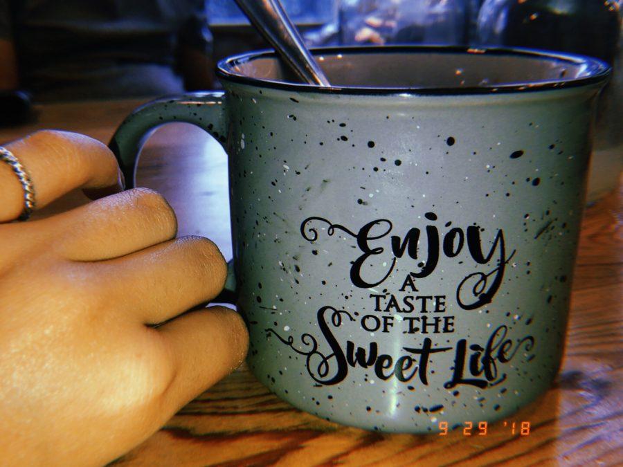 Sweet Lemon's mug, one of the cafe's merchandise.