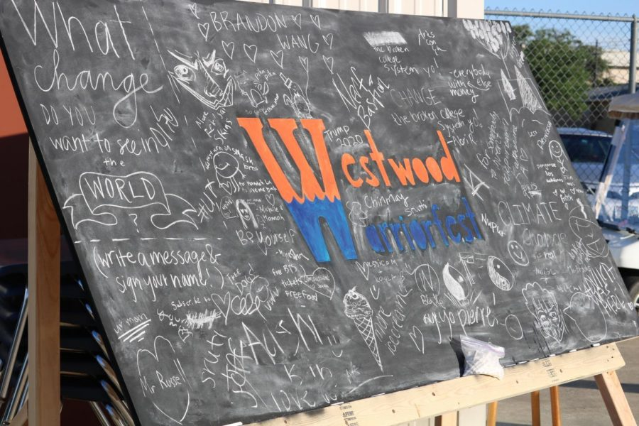 The front board is filled with students' responses.