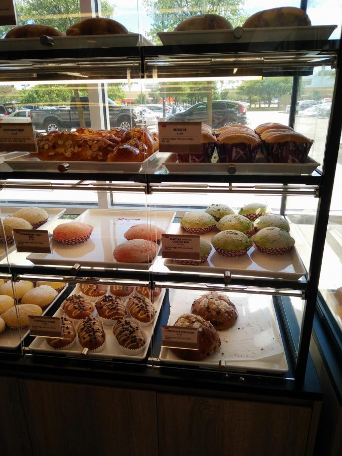 The bakery proudly showcases a wide variety of items.
