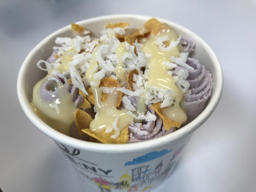 The To-Taro ice cream was glazed and sprinkled with coconut and corn flakes.