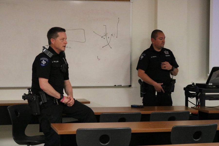 Deputy Trejo and Deputy Williby show a video and review ways to stay safe and help others.