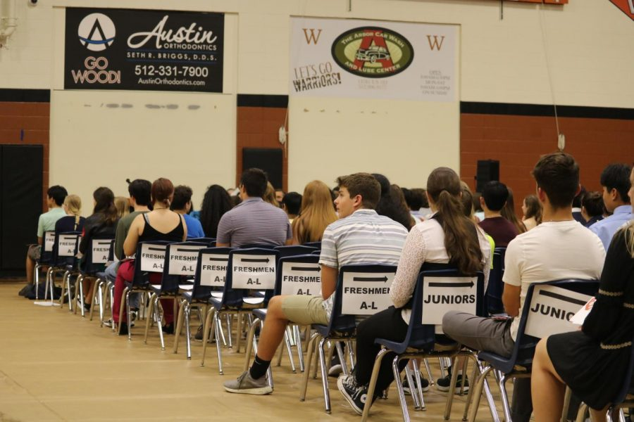 Students wait to receive their awards.