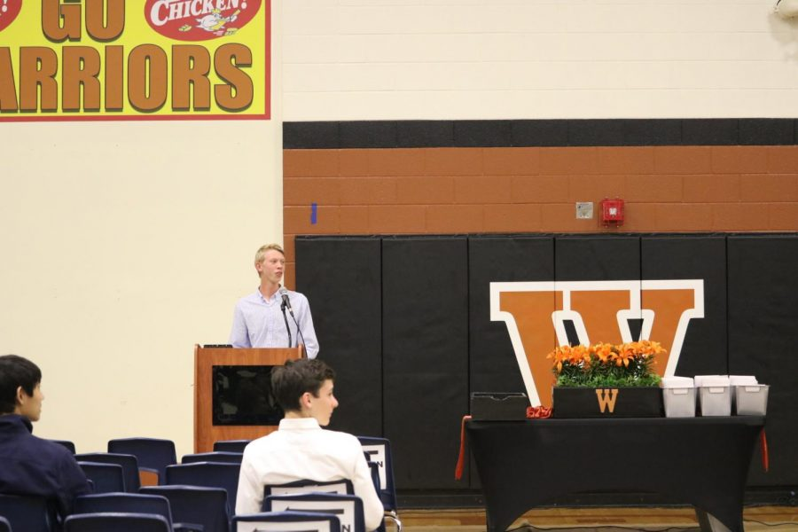 Hart Black '21, sophomore StuCo class president, gives a speech near the end of the ceremony.