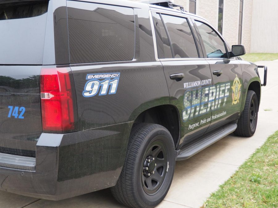 Williamson County Sheriff vehicle parked on Westwood HIgh School campus