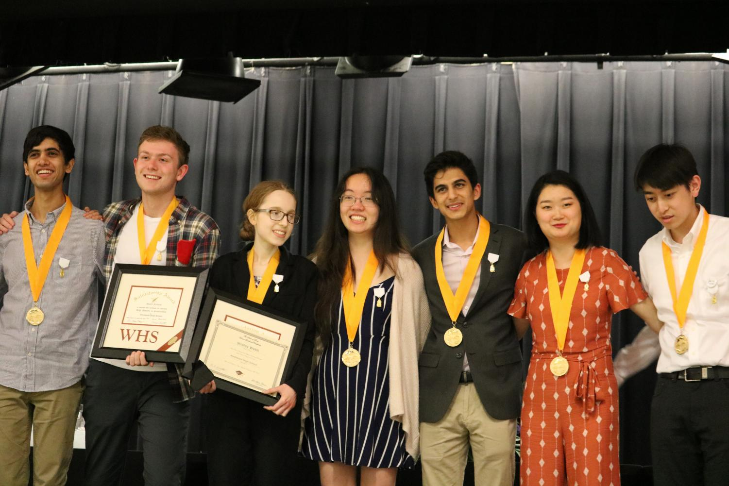 Seniors+Chinmaya+Andukuri%2C+Daniel+Farkash%2C++Straley+Webb%2C+Helen+Fang%2C+Sameer+Jain%2C+Grace+Liu%2C+and+David+Xu+are+honored+with+medals+that+distinguish+them+among+the+top+10+students+in+their+class.+