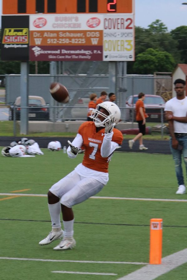 Julian DeBerry 21 hauls in a touchdown catch.