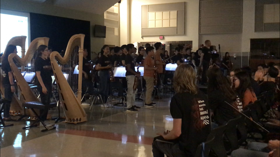 Symphony Orchestra stands to take a bow after playing their final piece.