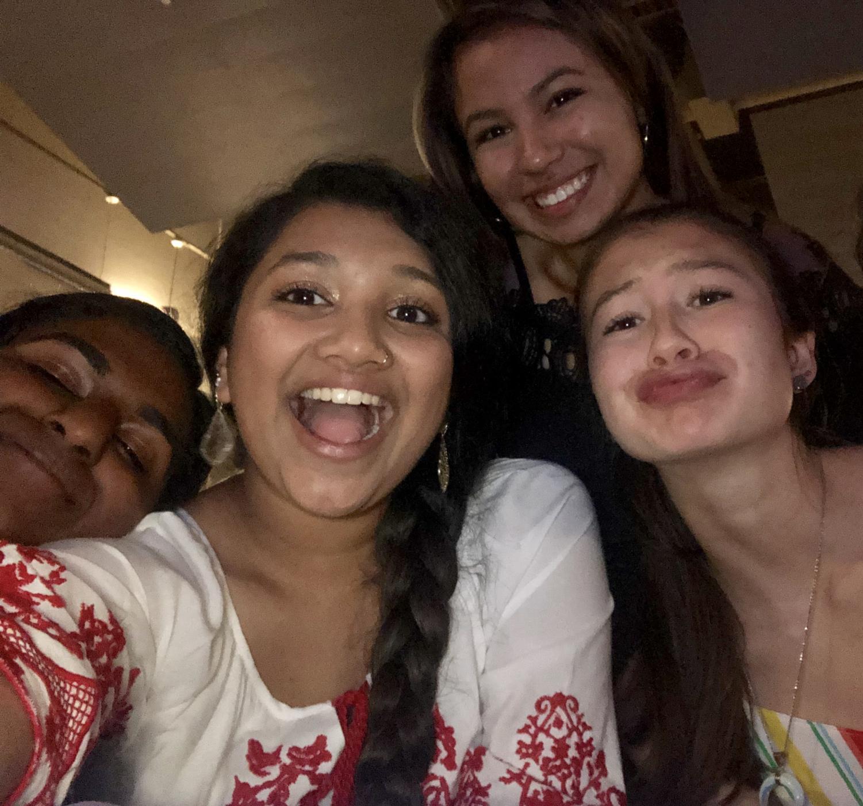 Sloka+Chandrasekaran+%2720%2C+Bhavana+Dokka+%2719%2C+Sophia+Castaneda+%2720%2C+and+Isabel+Grudowski+%2719+pose+for+a+selfie.